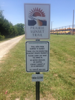 Prairie Sunset Trail Sign in Goddard, KS.